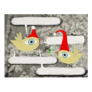 Carte postale d'oiseau du père noël décembre de