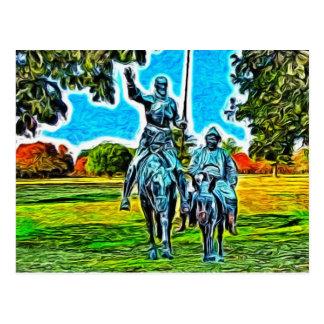 Carte Postale Don don Quichotte et Sancho Panza à cheval