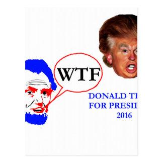 Carte Postale Donald Trump pour le Président Lincoln disant WTF