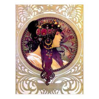 Carte Postale Donna Orechini par Alphonse Mucha