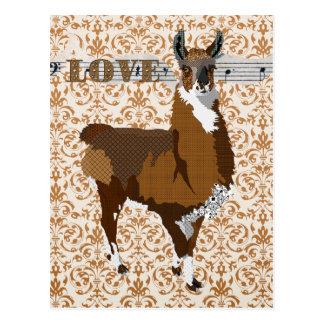 Carte postale d'or de damassé d'amour de lama