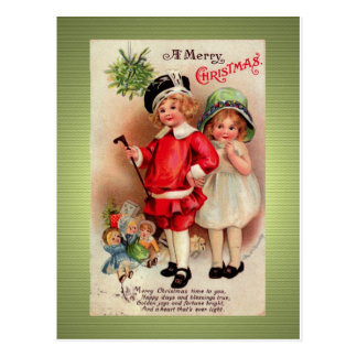 Carte postale d'or victorienne de Noël de