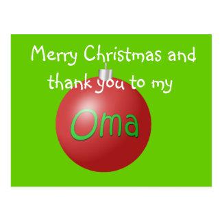 Carte postale d'ornement de Noël d'Oma
