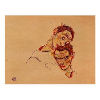 Carte Postale Double autoportrait d'Egon Schiele-