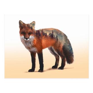 Carte Postale Double exposition de Fox - art de renard - renard