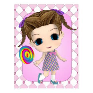 Carte postale douce de fille de Chibi