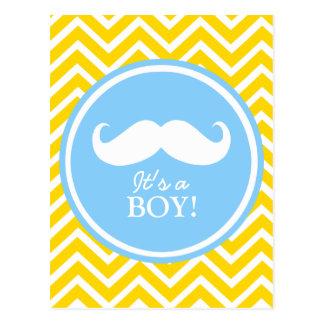 Carte Postale Douche de bébé de chevron de moustache
