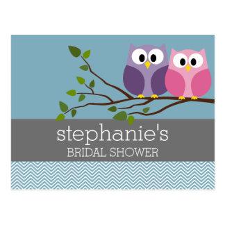 Carte Postale Douche nuptiale avec des couples de hibou sur la