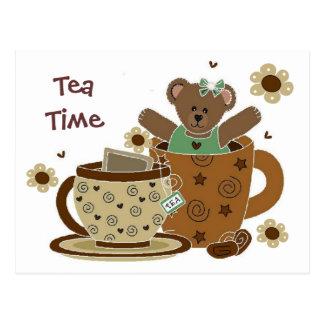 Carte postale d'ours de nounours de temps de thé