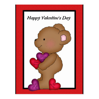 Carte postale d'ours de Saint-Valentin