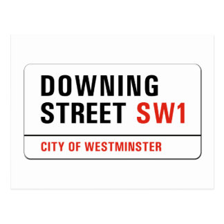 Carte Postale Downing Street, plaque de rue de Londres