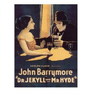 Carte Postale Dr. Jekyll et affiche de film de M. Hyde Vintage