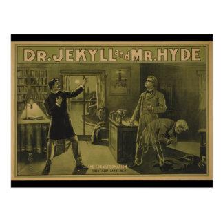 Carte Postale Dr. Jekyll et affiche théâtrale 1880 de M. Hyde