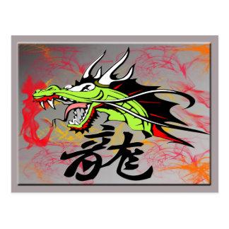 Carte Postale Dragon avec le kanji
