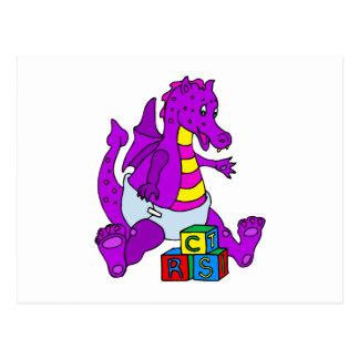 Carte Postale Dragon de bébé avec des blocs