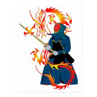Carte Postale Dragon d'épéiste et de feu de Kendo