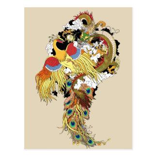Carte Postale Dragon et Phoenix chinois