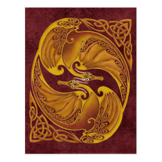 Carte Postale Dragons celtiques ornementaux