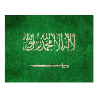 Carte Postale Drapeau affligé par cru de l'Arabie Saoudite