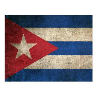 Carte Postale Drapeau affligé par cru du Cuba