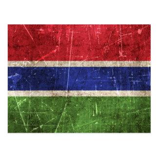 Carte Postale Drapeau âgé et rayé de cru de la Gambie