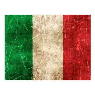 Carte Postale Drapeau âgé et rayé de cru de l'Italie