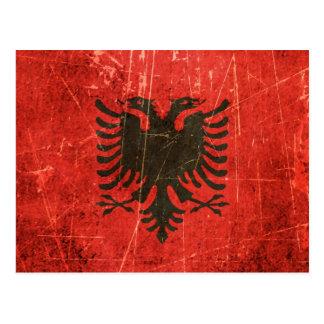 Carte Postale Drapeau albanais vintage rayé et porté