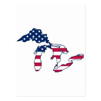 Carte Postale Drapeau américain de Great Lakes