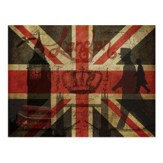 Carte Postale Drapeau britannique, autobus rouge, Big Ben et