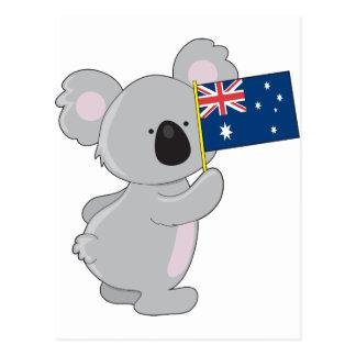 Carte Postale Drapeau d'Australien de koala