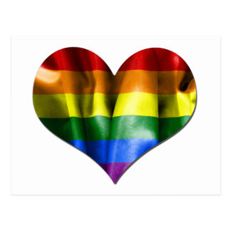 Carte Postale Drapeau de coeur d'amour de gay pride