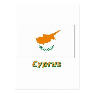 Carte Postale Drapeau de la Chypre avec le nom