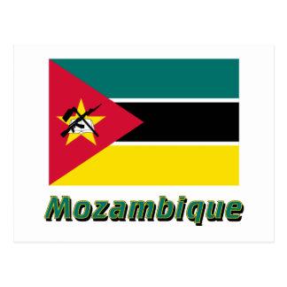 Carte Postale Drapeau de la Mozambique avec le nom