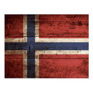 Carte Postale Drapeau de la Norvège sur le vieux grain en bois