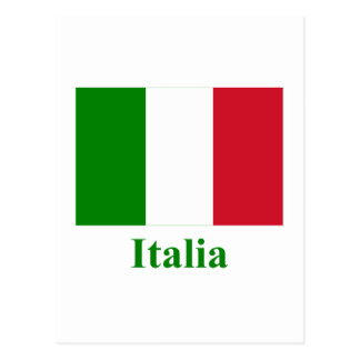 Carte Postale Drapeau de l'Italie avec le nom en italien