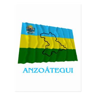 Carte Postale Drapeau de ondulation d'Anzoátegui avec le nom