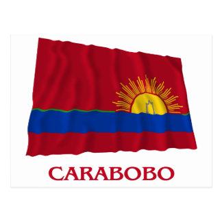 Carte Postale Drapeau de ondulation de Carabobo avec le nom