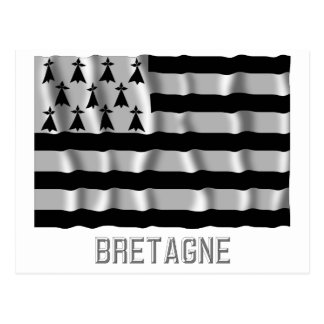 Carte Postale Drapeau de ondulation de la Bretagne avec le nom