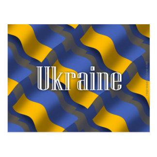 Carte Postale Drapeau de ondulation de l'Ukraine