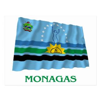 Carte Postale Drapeau de ondulation de Monagas avec le nom