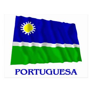 Carte Postale Drapeau de ondulation de Portuguesa avec le nom