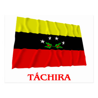 Carte Postale Drapeau de ondulation de Táchira avec le nom