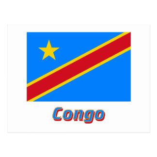 Carte Postale Drapeau de République Democratic du Congo avec le