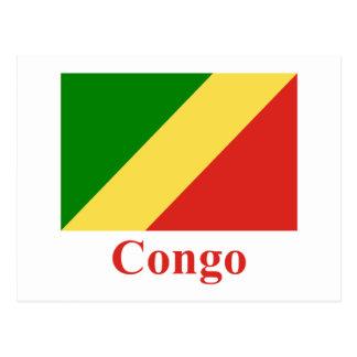 Carte Postale Drapeau de République du Congo avec le nom