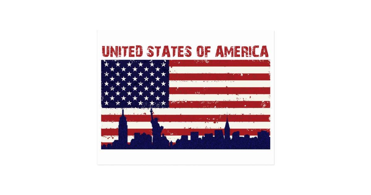 Carte Postale Drapeau des USA   Zazzle.fr