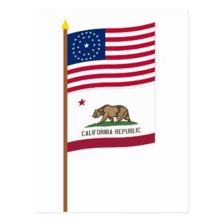 Carte Postale Drapeau d'étoile des USA 31 sur le poteau avec la