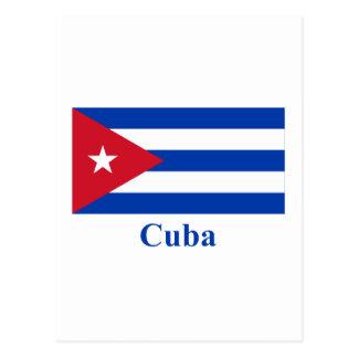 Carte Postale Drapeau du Cuba avec le nom
