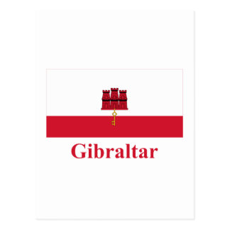 Carte Postale Drapeau du Gibraltar avec le nom