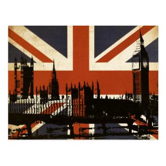 Carte Postale Drapeau du Royaume-Uni avec la silhouette du