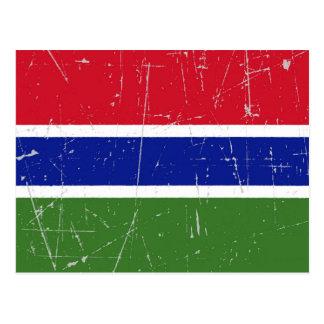 Carte Postale Drapeau éraillé et rayé de la Gambie